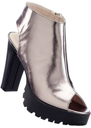 Low-boots peep-toe, RAINBOW, gris foncé metallic