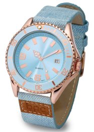 Montre sportive avec bracelet en jean, bpc bonprix collection, denim/doré rose