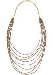 Collier multi-rangs, bpc bonprix collection, olive/rose