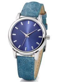Montre bracelet effet jean, bpc bonprix collection, bleu denim