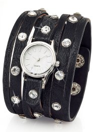 Montre à bracelet large avec strass, bpc bonprix collection, noir/argenté