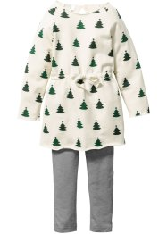Robe sweat + legging (Ens. 2 pces.), bpc bonprix collection, beige/vert foncé imprimé/gris chiné