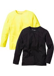 Lot de 2 T-shirts manches longues, bpc bonprix collection, jaune fluo/noir