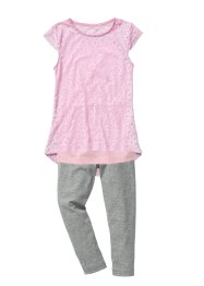 T-shirt en dentelle, top + legging (Ens. 3 pces.), bpc bonprix collection, rose poudré/gris clair chiné