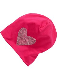 Beanie jersey à strass, bpc bonprix collection, rose cœur