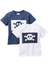 Lot de 2 T-shirts, bpc bonprix collection, blanc + indigo