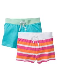 Lot de 2 shorts en jersey, bpc bonprix collection, turquoise + nectarine/fuchsia rayé