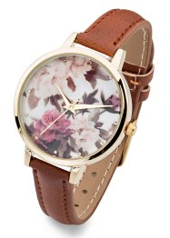Montre à bracelet avec motif floral, bpc bonprix collection, marron
