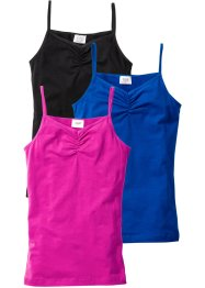 Lot de 3 tops, bpc bonprix collection, noir/bleu azur/fuchsia