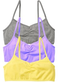 Lot de 3 brassières, bpc bonprix collection, gris clair chiné/lilas/citron clair