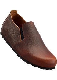 Slippers confortables en cuir, bpc selection, marron foncé