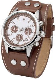 Montre chrono homme avec bracelet cuir, bpc bonprix collection, marron