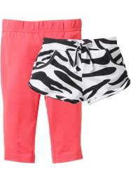 Short + legging 3/4 (Ens. 2 pces.), bpc bonprix collection, noir/blanc+fuchsia clair