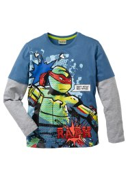T-shirt double épaisseur TORTUES NINJA, Teenage Mutant Ninja Turtles, bleu jean/gris clair chiné