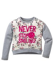 Sweat-shirt SMILEY, Smiley, gris clair chiné/blanc