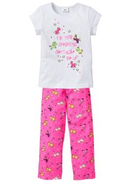 Pyjama (Ens. 2 pces.), bpc bonprix collection, blanc/rose fluo