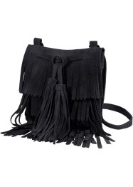 Sac à franges en cuir, bpc bonprix collection, noir