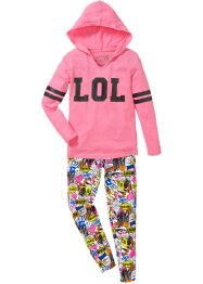 T-shirt à capuche + legging (Ens. 2 pces.), bpc bonprix collection, rose fluo all-over
