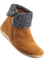 Bottines en cuir confortable, bpc selection, camel/gris foncé