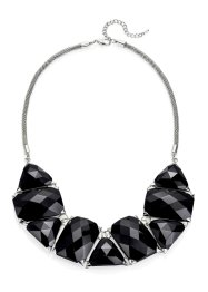Collier en pierres fantaisie, bpc bonprix collection, noir/argenté