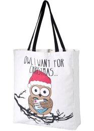 Sac Christmas Owl, bpc bonprix collection, blanc/noir