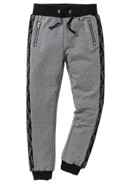 Pantalon matière sweat à empiècements dentelle, bpc bonprix collection, gris chiné