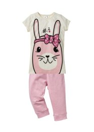 Pyjama (Ens. 2 pces.), bpc bonprix collection, blanc cassé/rose poudré/gris chiné
