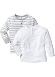 Lot de 2 T-shirts manches longues à patte de boutonnage, bpc bonprix collection, argent mat/blanc + blanc