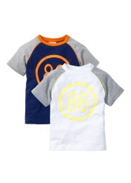 Lot de 2 T-shirts manches raglan, bpc bonprix collection, blanc/gris clair chiné + bleu nuit/orange