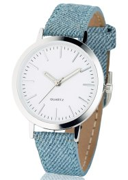 Montre bracelet denim, bpc bonprix collection, denim bleu clair