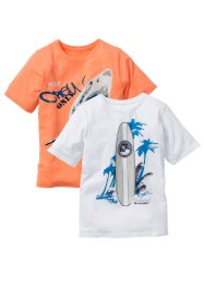 Lot de 2 T-shirts, bpc bonprix collection, blanc/orange fluo