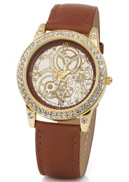 Montre bracelet cuir style automatique avec strass, bpc bonprix collection, marron