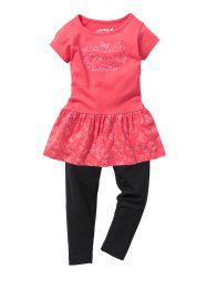 Robe + legging (Ens. 2 pces.), bpc bonprix collection, fuchsia clair/noir