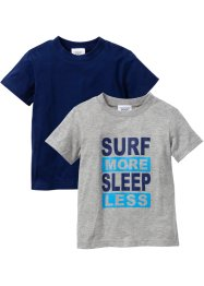 Lot de 2 T-shirts, bpc bonprix collection, gris clair chiné + bleu nuit