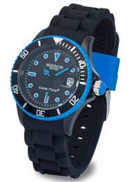 Montre bracelet silicone bicolore, bpc bonprix collection, noir/bleu