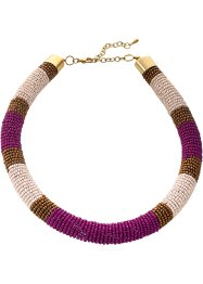 Collier à perles multicolores, bpc bonprix collection, fuchsia moyen/doré