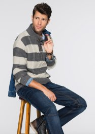 Pull Regular Fit avec col synthétique imitation fourrure, John Baner JEANSWEAR
