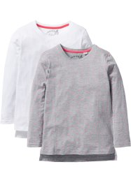 Lot de 2 T-shirts manches longues, bpc bonprix collection, blanc/gris clair chiné imprimé