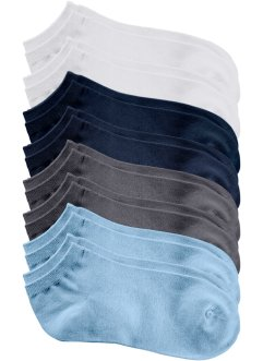 Lot de 8 paires de socquettes, bpc bonprix collection, blanc+bleu+gris