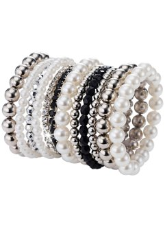 Set de 12 bracelets perles fantaisie, bpc bonprix collection, noir/argenté