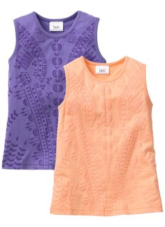 Lot de 2 tops à motif structuré, bpc bonprix collection, melba + lilas