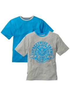 Lot de 2 T-shirts, bpc bonprix collection, gris clair chiné/turquoise