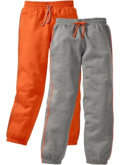 Lot de 2 pantalons sweat, bpc bonprix collection, gris clair chiné/orange foncé