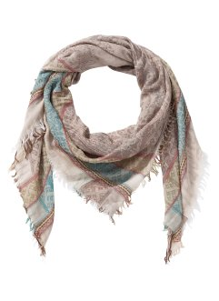 Foulard XXL avec franges, bpc bonprix collection, beige/marron/bleu