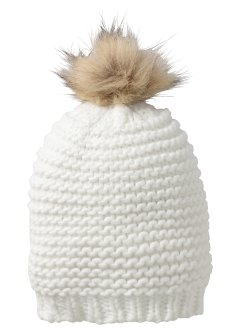 Bonnet à pompon, bpc bonprix collection, blanc cassé