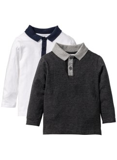 Lot de 2 T-shirts manches longues à col polo, bpc bonprix collection, anthracite chiné+blanc