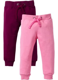 Lot de 2 pantalons sweat, bpc bonprix collection, rose bonbon+prune