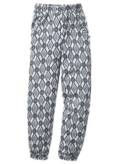 Pantalon sarouel, bpc bonprix collection, blanc cassé/anthracite chiné