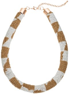 Collier de perles multicolores, bpc bonprix collection, marron clair/crème/doré
