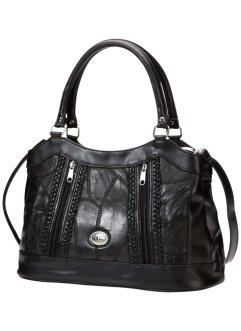 Sac cuir Patch avec applications tressées, bpc bonprix collection, noir